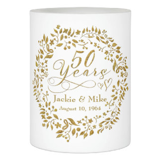 50th Golden Anniversary Personalized Gold White Flameless Candle