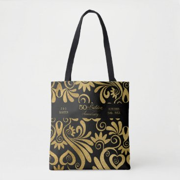 Professional Business 50th Golden Anniversary Typography Gold and Black Tote Bag