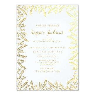 50th Golden Anniversary White Gold Foil Leaves Card