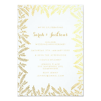 50th Golden Anniversary White Gold Foil Leaves Invitation