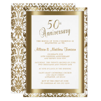 50th Golden Wedding Anniversary 2 | DIY Text Invitation