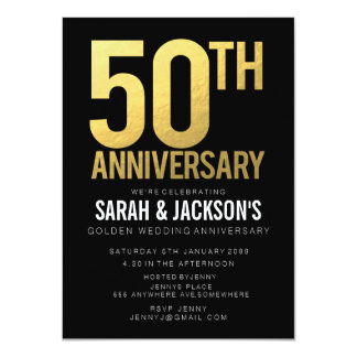 50th Golden Wedding Anniversary Black & Gold Party 4.5x6.25 Paper Invitation Card