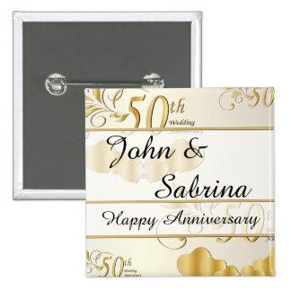 50th Golden Wedding Anniversary Button