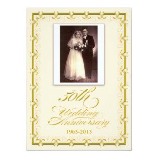 50th Golden Wedding Anniversary Celebration Photo Invitation