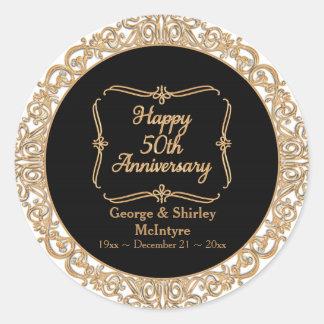 50th Golden Wedding Anniversary Celebration Round Classic Round Sticker