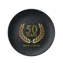 50th Golden Wedding Anniversary Commemorative Dinner Plate