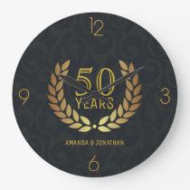 50th Golden Wedding Anniversary Commemorative Large Clock