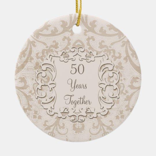 50th Golden Wedding Anniversary Custom Photo Ceramic Ornament