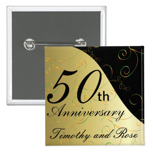 Th golden wedding anniversary diy name button zazzle