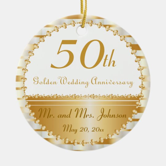 50th Golden Wedding Anniversary | DIY Name & Date Ceramic ...