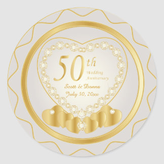 50th Golden Wedding Anniversary | DIY Text Classic Round Sticker
