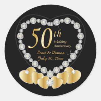 50th Golden Wedding Anniversary | DIY Text Classic Round Sticker