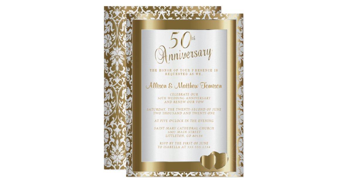 Golden Wedding Anniversary Invitations: 50th Golden Wedding Anniversary