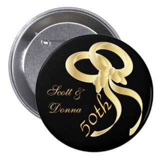 50th Golden Wedding Anniversary | DIY Text Pinback Button