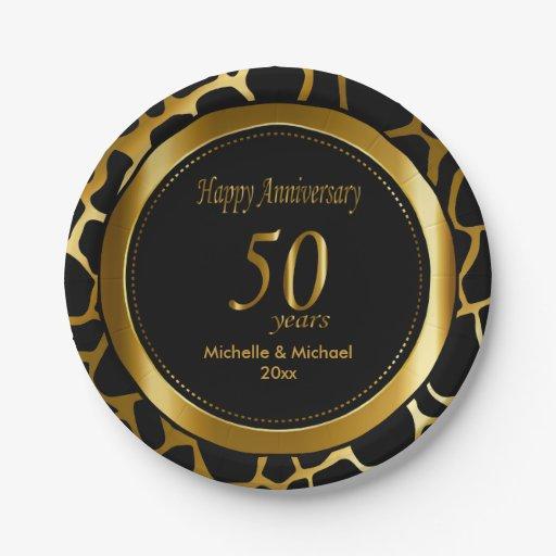 50th Golden Wedding Anniversary Giraffe Pattern Paper Plate Zazzle