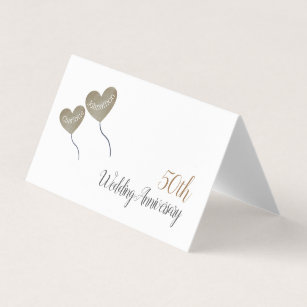 50th Golden Wedding Anniversary Heart Balloons Place Card