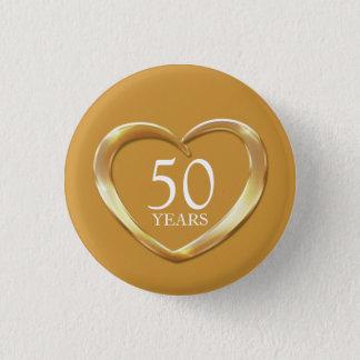 50th golden wedding anniversary heart button badge