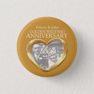 50th golden wedding anniversary heart photo badge button