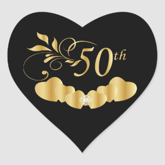 50th Golden Wedding Anniversary Heart Sticker