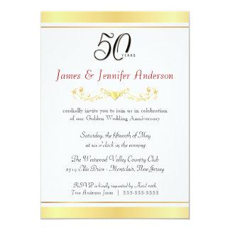 "50th Golden Wedding Anniversary Invitations 5"" X 7"" Invitation Card"