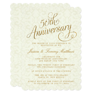Golden Anniversary Wedding Invitations Zazzle