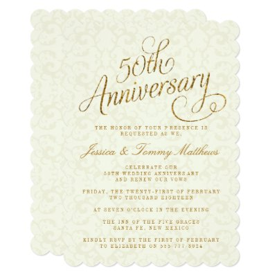 Marvelous Fancy 50th Wedding Anniversary Invitations | Zazzle.com
