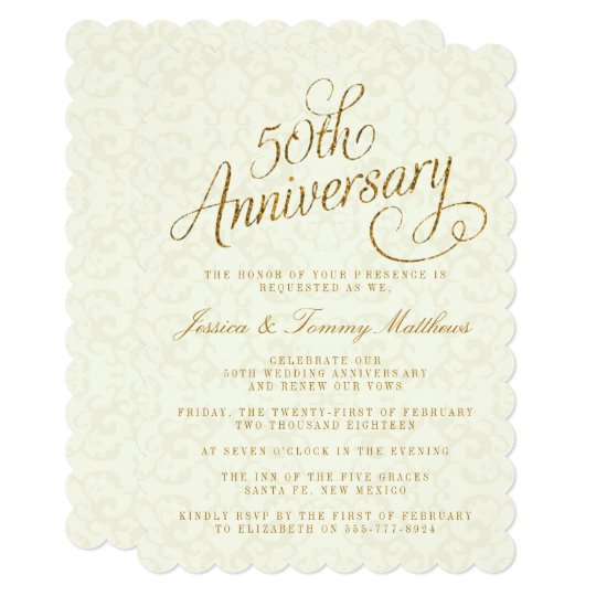50th Golden Wedding Anniversary Invitations Zazzle Com