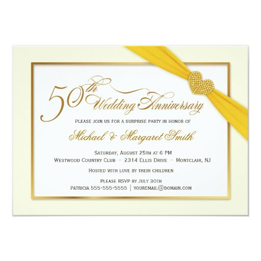 Golden Wedding Anniversary Gift Experiences : 50th Golden Wedding Anniversary Invitations Zazzle
