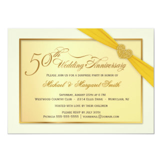 "50th Golden Wedding Anniversary Invitations 4.5"" X 6.25"" Invitation Card"