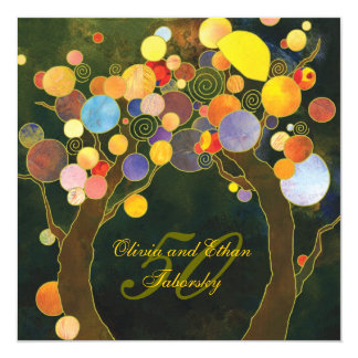 50th Golden Wedding Anniversary Invite: Love Trees