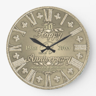 50th Golden Wedding Anniversary Large Clock