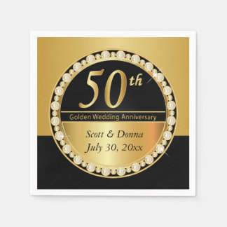 50th Golden Wedding Anniversary Napkin