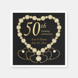 50th Golden Wedding Anniversary Disposable Napkins