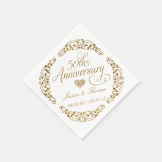 50th Golden Wedding Anniversary Paper Napkins
