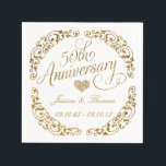 "50th Golden Wedding Anniversary Paper Napkins<br><div class=""desc"">50th Golden Wedding Anniversary Paper Napkins.</div>"