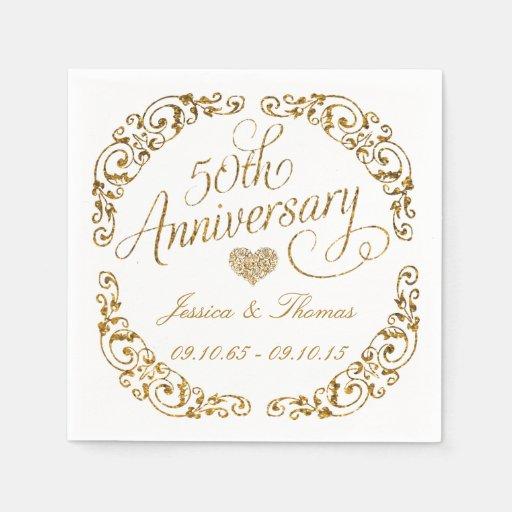 50th Golden Wedding Anniversary Paper Napkins Zazzle