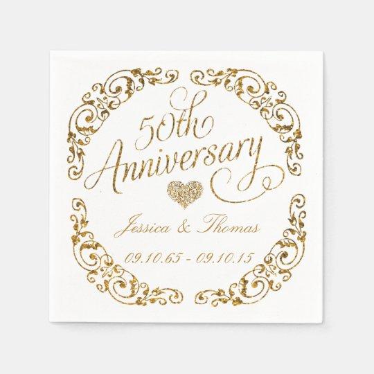 Golden Wedding Anniversary.50th Golden Wedding Anniversary Paper Napkins