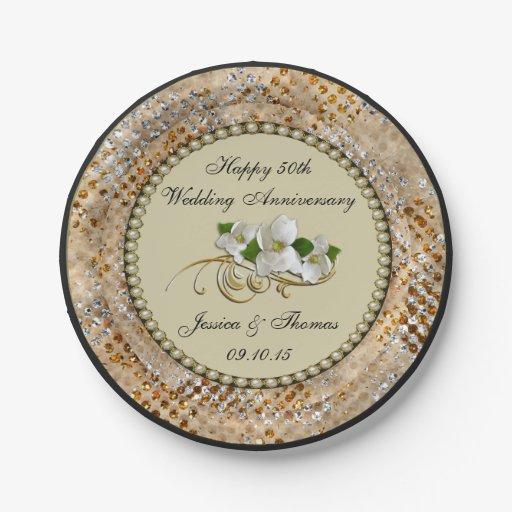 50th Golden Wedding Anniversary Paper Plate Zazzle