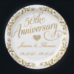 """50th Golden Wedding Anniversary Paper Plate<br><div class=""""desc"""">50th Golden Wedding Anniversary Paper Plate</div>"""