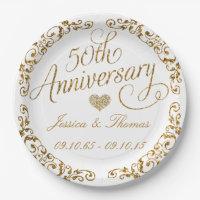 50th Golden Wedding Anniversary Paper Plate