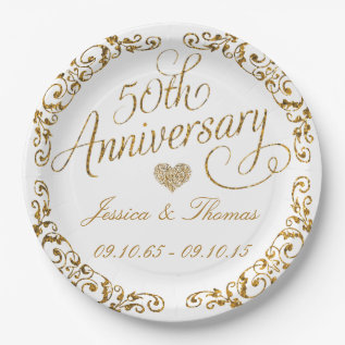 50th Golden Wedding Anniversary Paper Plate at Zazzle