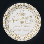 "50th Golden Wedding Anniversary Paper Plate<br><div class=""desc"">50th Golden Wedding Anniversary Paper Plate</div>"