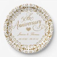 50th Golden Wedding Anniversary Paper Plate  sc 1 st  Zazzle & 50th Wedding Anniversary Plates   Zazzle