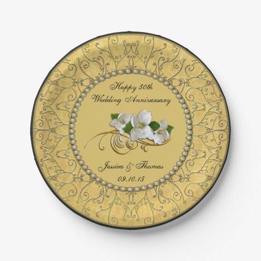 50th golden wedding anniversary paper plate 7 inch paper plate zazzle