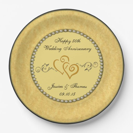 50th Golden Wedding Anniversary Paper Plate 9 Inch Paper Plate Zazzle
