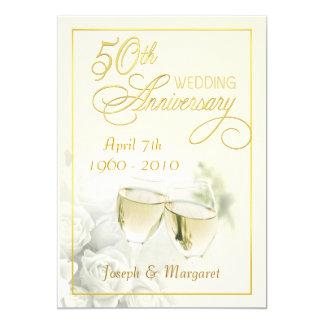 "50th Golden Wedding Anniversary Party Invitations 5"" X 7"" Invitation Card"