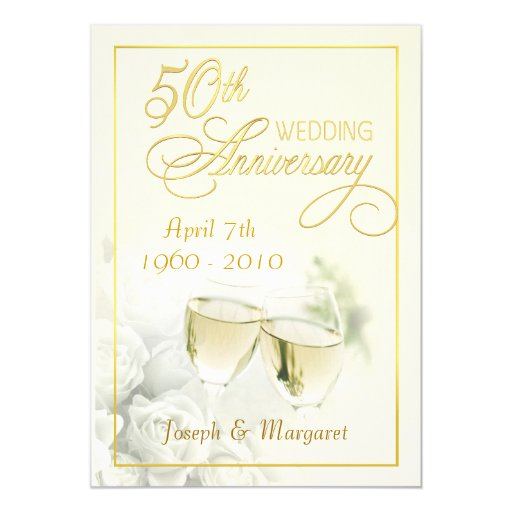 Golden Wedding Anniversary Gift Experiences : 50th Golden Wedding Anniversary Party Invitations Zazzle