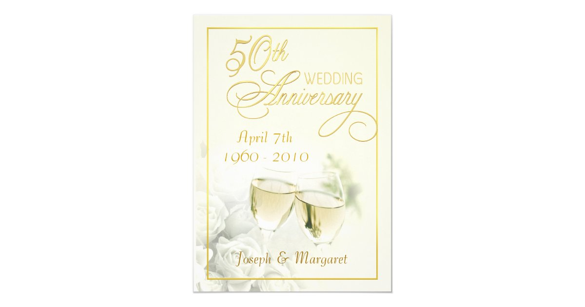 Golden Wedding Anniversary Invites: 50th Golden Wedding Anniversary Party Invitations