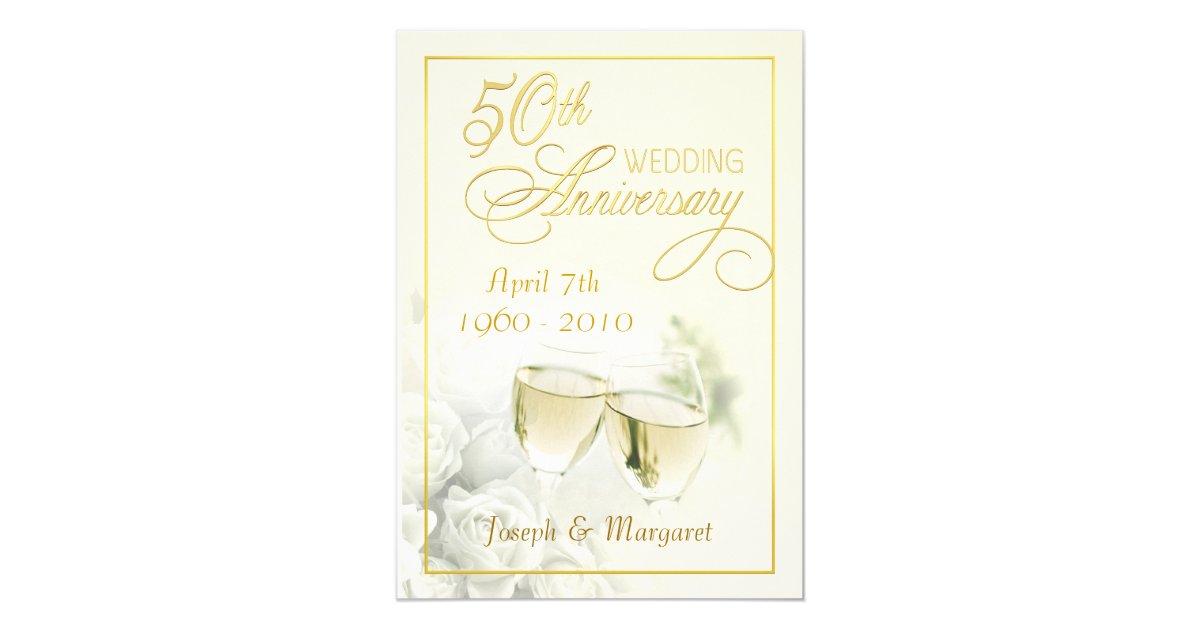 Golden Wedding Anniversary Invitations: 50th Golden Wedding Anniversary Party Invitations