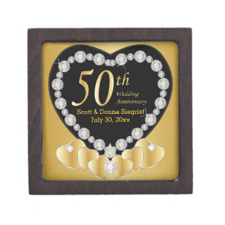 50th Golden Wedding Anniversary | Personalize Jewelry Box